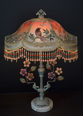 Nightshades Victorian Lampshade With Rose Embroidery