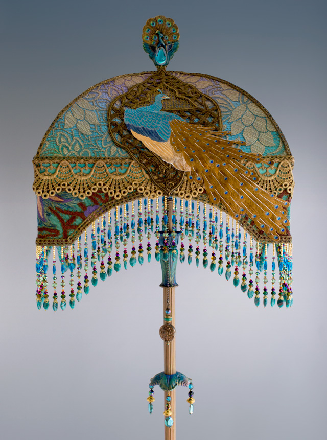 Nightshades Victorian Lampshade With Peacock Embroidery