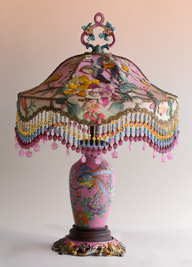 Pink Chinoiserie Embroidered Victorian Table Lamp With