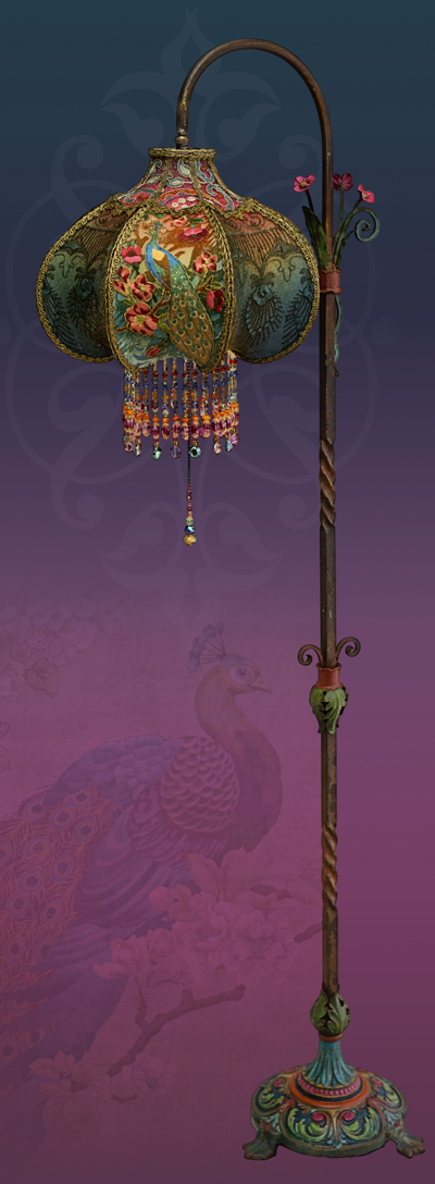 Bohemian Peacock Vintage Lamp Decor Hand Beaded by Artist and Designer Christine Kilger of Nightshades #victorian #peacock #bohemian