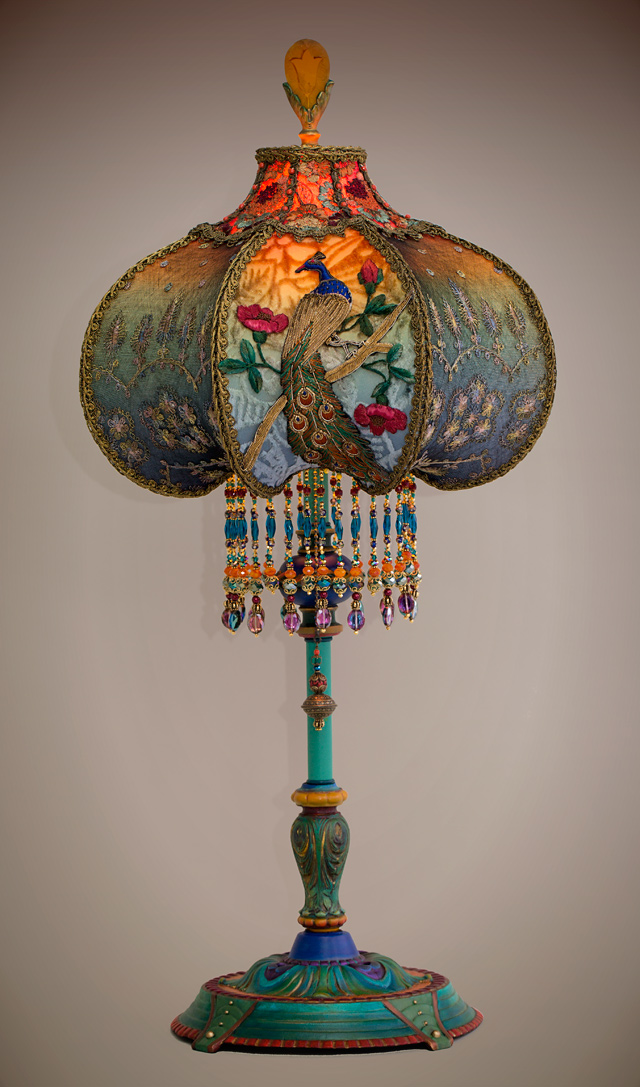 Nightshades Detail Of Peacock Victorian Lamp And Shade