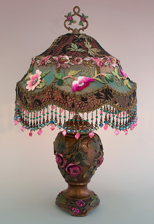 Nightshades Victorian Lampshade with pink roses, beads and antique textiles