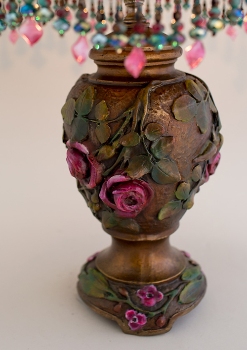 Nightshades Victorian Lampshade with pink roses, beads and antique textiles base detail