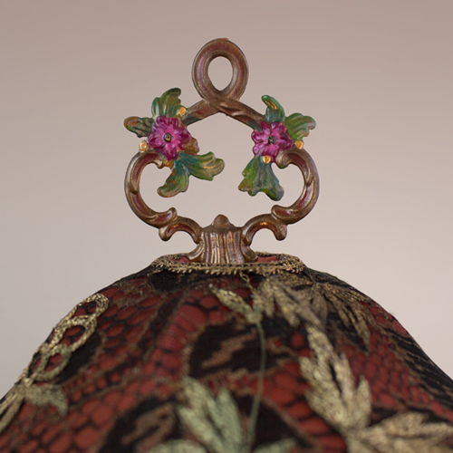 Nightshades Victorian Lampshade with pink roses, beads and antique textiles finial