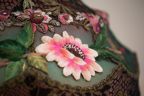 stumpwork antique embroidered flowers