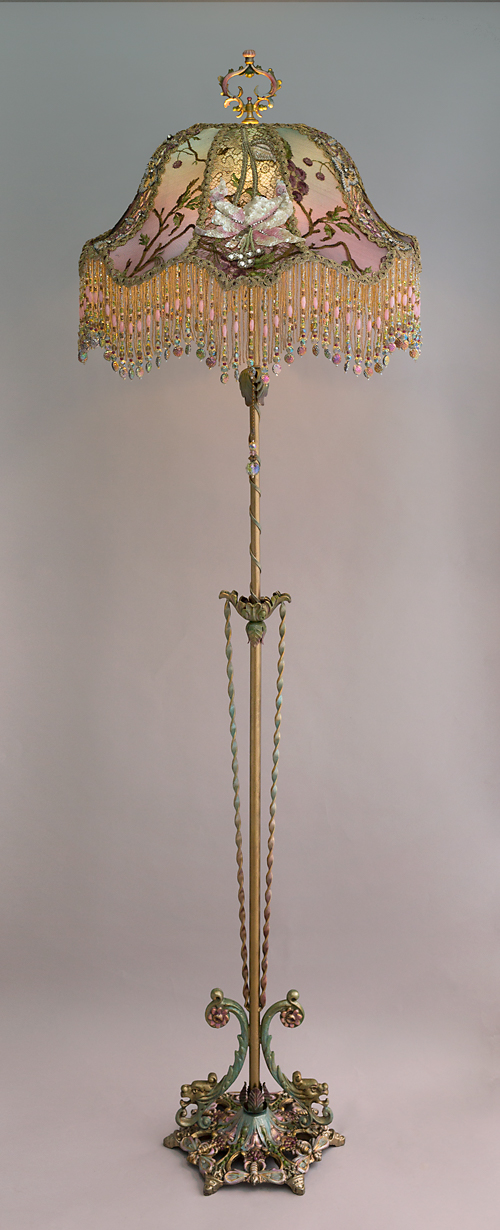 Lily Amp Dragonfly Beaded Antique Victorian Lampshade From