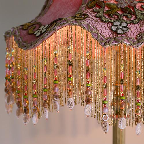 Nightshades Dusty Pink Velvet Carousel Floor Lamp