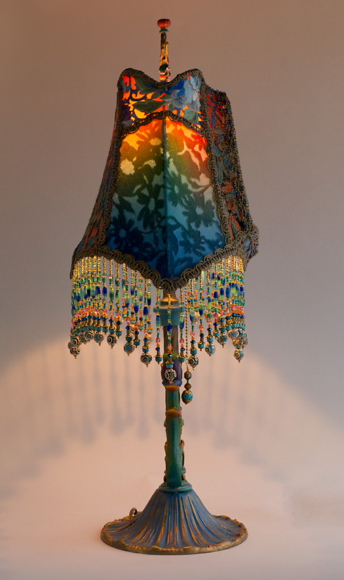 Nightshades Royal Peacock Garden Table Lamp