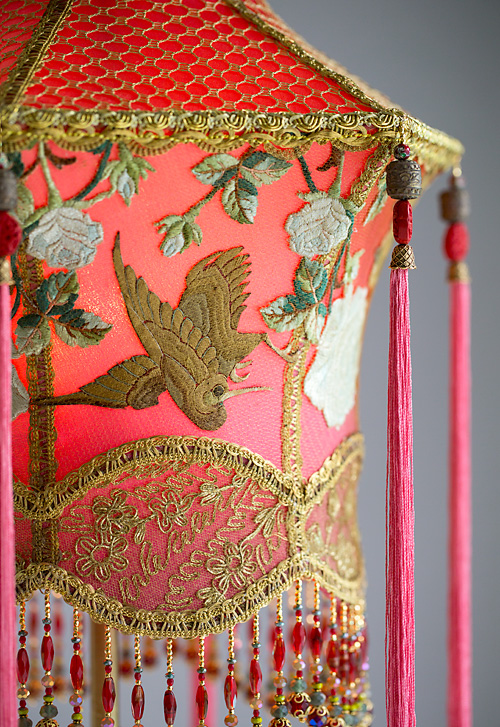 Chinoiserie Red Lantern With Cranes And Roses Floor Lamp