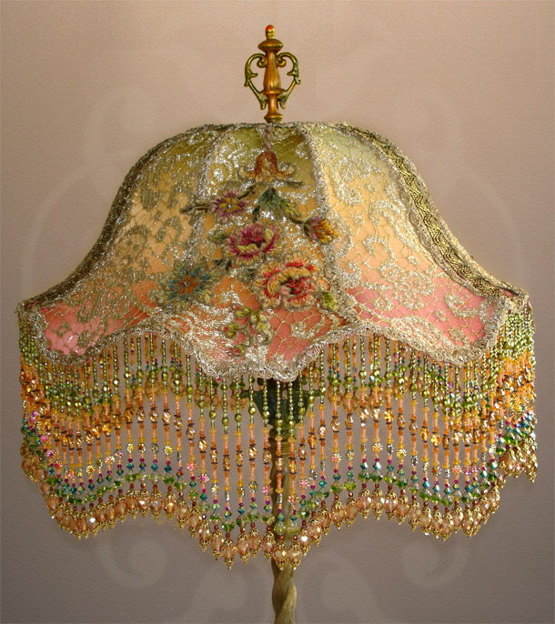 Nightshades Hand Beaded Lampshade With French Chenille