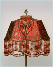 Red Beaded Victorian Lampshade
