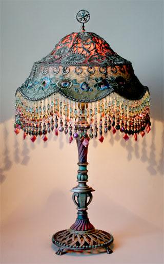 Nightshades - Antique metallic lace lamp