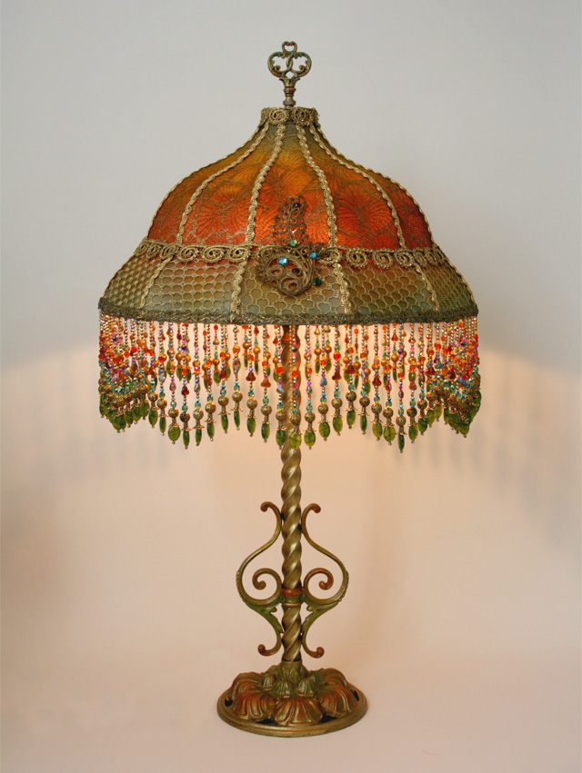 Nightshades - Antique metallic lace lamp