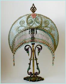 Art Nouveau Lamp with antique appliques