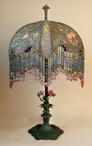 Victorian Shadowbox Lampshade with French Embroidery