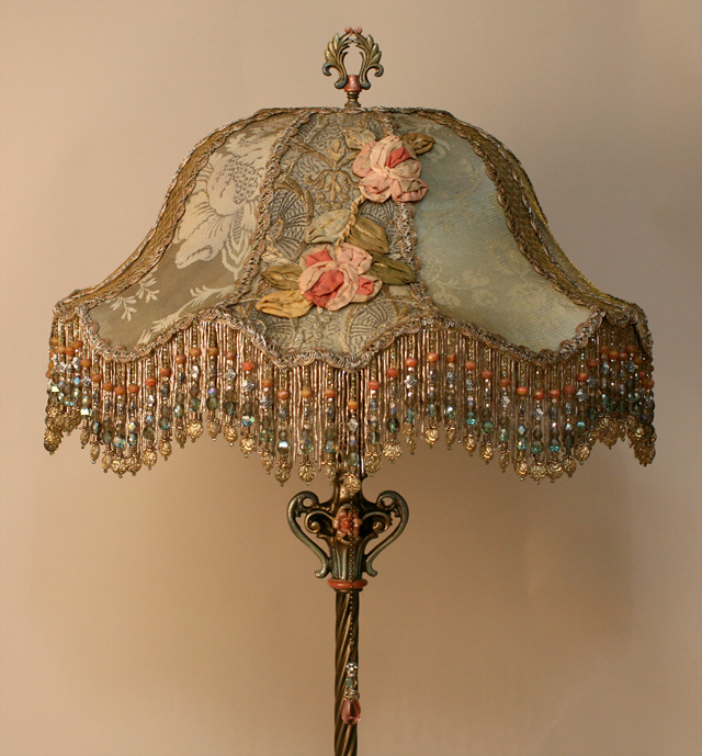 Attractive Chateau Victorian Lampshade With Antique Silk Ribbon Roses