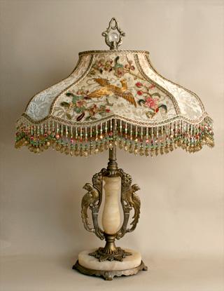 Nightshades Chinoiserie Beaded Vintage Fabric Bird Lamp