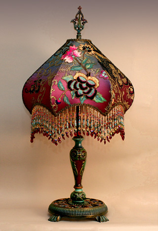 Nightshades fuschia peony butterfly beaded shade on hand painted detail of victorian ribbon roses aloadofball Images
