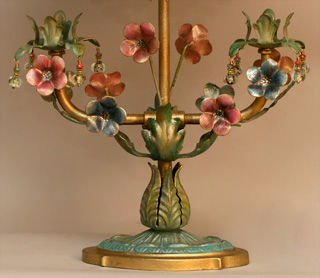 Victorian Lampshade on Floral Tole Base