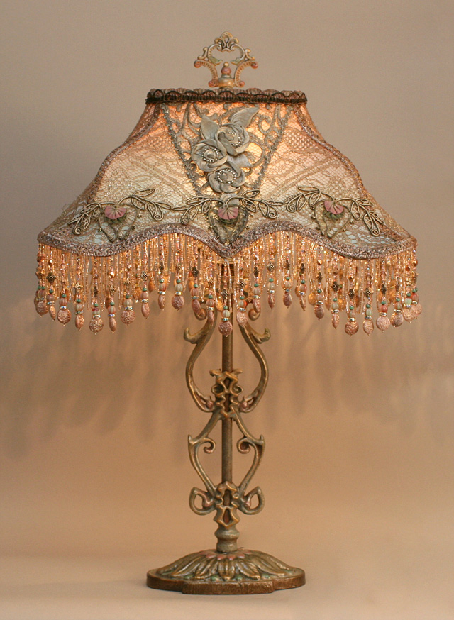 Nightshades Edwardian Style Lampshade On Antique Lamp Base