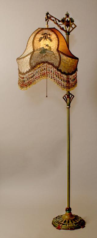 Стиль шинуазри абажур на базе античной лампы