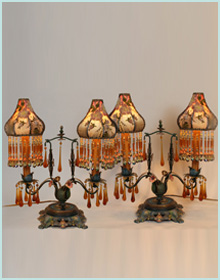 Tole Candelabra Bases with Victorian Lampshades