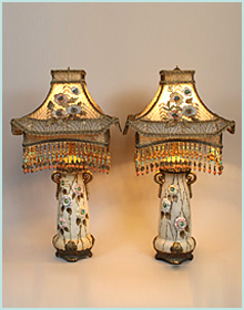 Nightshades sold lamps antique lamp base with chinese peony shade aloadofball Image collections