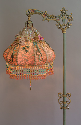 Nightshades Victorian Lampshade With Antique Silk Ribbon