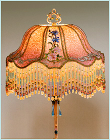 Antique Victorian Lampshade with French Embroidery